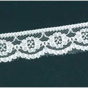 Metre Beautiful 33mm Cream Embroidered Cotton /& Crochet Scallop Edge Lace Trim