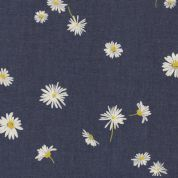 Art Gallery Fabrics The Denim Studio Collection Ragged Daisies Chambray Denim Fabric  Blue