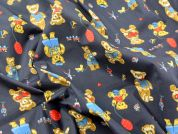 Cute Teddy Bear Print Polycotton Dress Fabric  Navy Blue