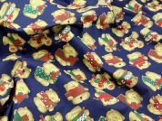 Teddy Bear with Gifts Print Polycotton Dress Fabric  Navy Blue