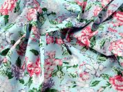 Beautiful Floral Print Polycotton Dress Fabric  Blue & Pink