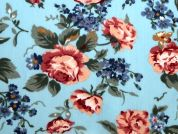 Traditional Floral Print Polycotton Dress Fabric