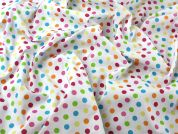 Spotty Polka Dot Rainbow Print Polycotton Dress Fabric  Multicoloured