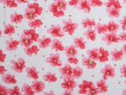 Floral Print Polycotton Dress Fabric  Pink