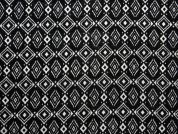 Geometric Print Woven Viscose Dress Fabric  Black & White