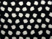 Spotty Print Woven Viscose Dress Fabric  Black & White