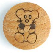 Dill Teddy Bear Wood Buttons  Beige