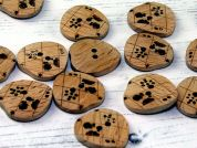 Dill Engraved Heart Shape Wooden Buttons