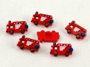 Dill Fire Engine Shape Novelty Buttons  Red