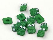 Dill Frogs with Moving Eyes Novelty Buttons  Green