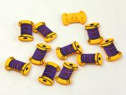 Dill Sewing Spool Shape Buttons  Yellow/Purple