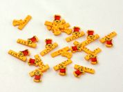 Dill Sewing Ruler & Spool Shape Buttons  Yellow/Red