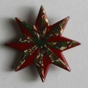 Dill Christmas Star Buttons  Red