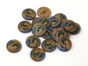 Dill Round Textured Buttons  Brown & Blue