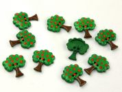 Dill Fruit Tree Shape Novelty Buttons  Green