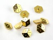 Dill Dice Shape Novelty Buttons  Gold