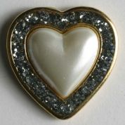 Dill Metal Heart Buttons  Cream