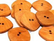 Dill Square Shaped 2 Hole Wooden Buttons  Tan