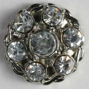 Dill Round Diamante Buttons  Silver