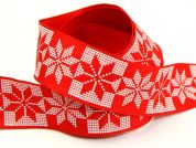 38mm Wired Edge Snowflake Hearts Christmas Ribbon 20m  Red & White