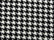 Large Dogtooth Check Suiting Dress Fabric  Black & White