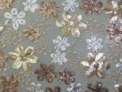 Dorris Floral Sequinned Tulle Lace Dress Fabric  Gold & Ivory