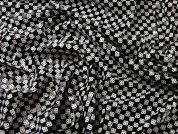 Draughts Sequinned Squares Stretch Jersey Dress Fabric  Black & White