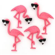 Dress It Up Think Pink Flamingos Buttons