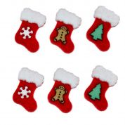 Dress It Up Shaped Novelty Buttons Christmas Stockings