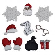 Dress It Up Shaped Novelty Buttons Christmas Waiting for Santa