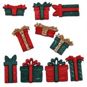 Dress It Up Shaped Novelty Buttons Christmas Boxes & Bows