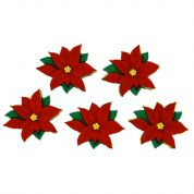 Dress It Up Shaped Novelty Buttons Christmas Red Poinsettias