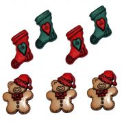 Dress It Up Shaped Novelty Buttons Christmas Stockings & Bears