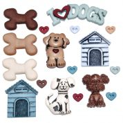 Dress It Up Shaped Novelty Buttons Its a Dogs Life