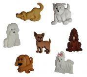 Dress It Up Shaped Novelty Buttons Puppy Parade