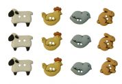 Dress It Up Shaped Novelty Buttons Country Critters