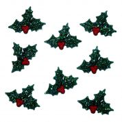 Dress It Up Shaped Novelty Buttons Christmas Glitter Holly
