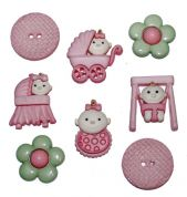 Dress It Up Shaped Novelty Buttons Baby Fun Girl