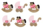 Dress It Up Shaped Novelty Buttons Horse & Buggy Girl
