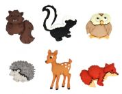 Dress It Up Shaped Novelty Buttons Forest Babies