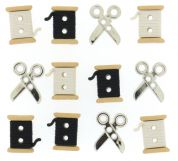Dress It Up Shaped Novelty Buttons Spools & Scissors