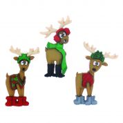 Dress It Up Shaped Novelty Buttons Christmas Reindeer