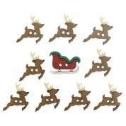 Dress It Up Shaped Novelty Buttons Christmas Reindeer & Sleigh