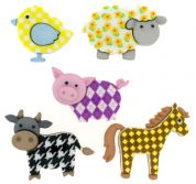 Dress It Up Shaped Novelty Buttons Funky Farm