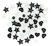 Dress It Up Shaped Novelty Buttons Black & White Minis