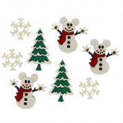 Dress It Up Disney Mickey Snowmen Buttons