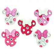 Dress It Up Disney Shaped Novelty Buttons Minnie Mouse Rhinestone Heads