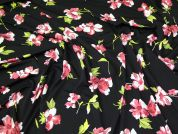 Slinky Jersey Knit Fabric  Black & Pink