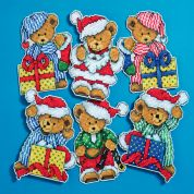 Design Works Plastic Canvas Kit Little Christmas Bears Ornaments
