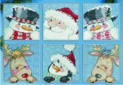 Design Works Plastic Canvas Stitch Kit Funny Friend Squares Ornaments